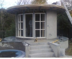 Summer house being built with a durable flat roof
