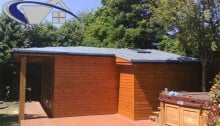 Garden shed with flat roof
