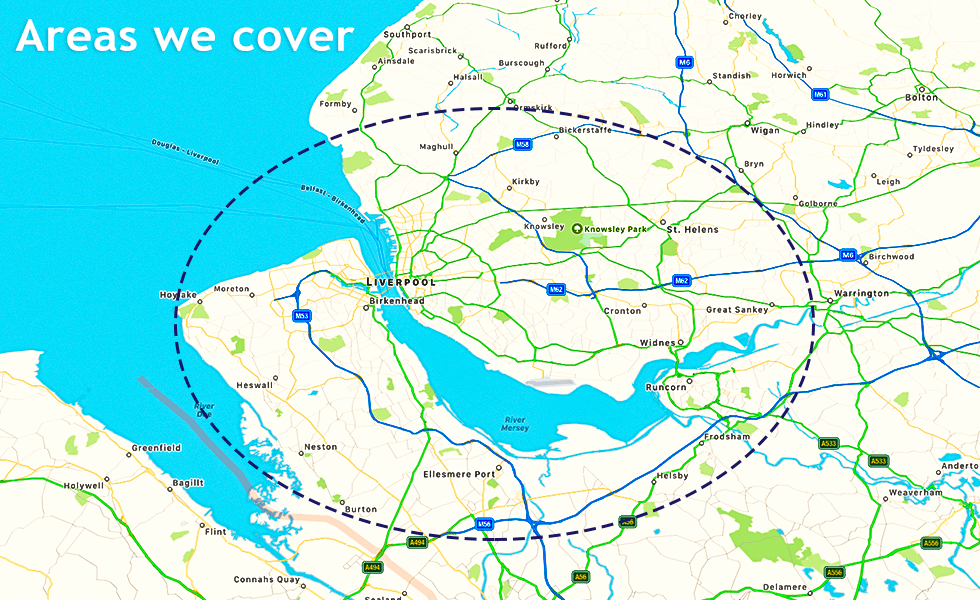 Areas we cover- Liverpool, Merseyside